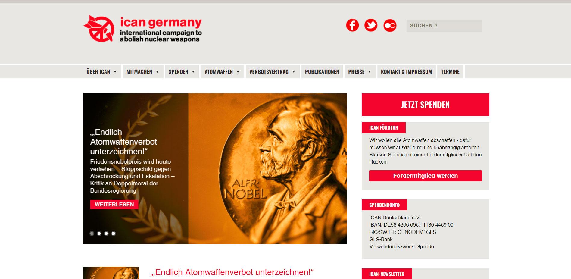 Homepage für ICAN Germany