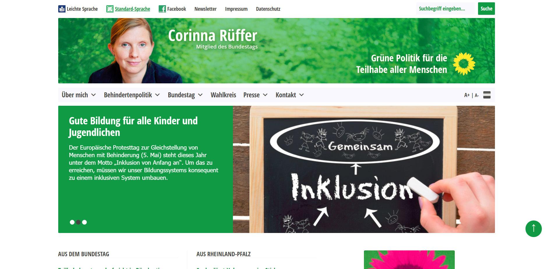 Relaunch der Webseite für Corinna Rüffer